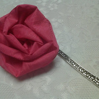 Pink Fabric Flower Ribbon Large Silver Bookmark