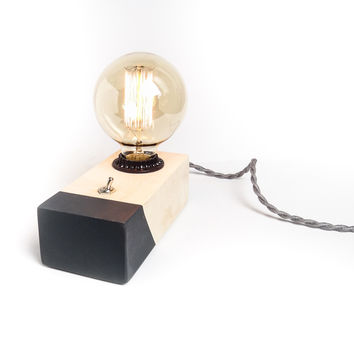 W/S Maple Hardwood Desktop Edison Lamp, Grey Contrast