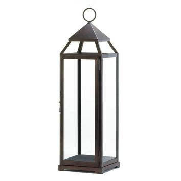 Iron Extra Tall Bronze Contemporary 25 Inch Candle Holder Lantern