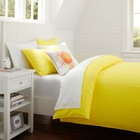 Color Wash Duvet Cover + Sham, Hot Yellow