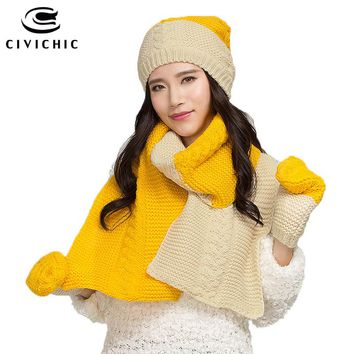 CIVICHIC Korean Style Winter Color Knit Warm Scarf Hat Gloves 3  Piece Set Elegant Crochet Thicken Headwear Twist Shawl SH124