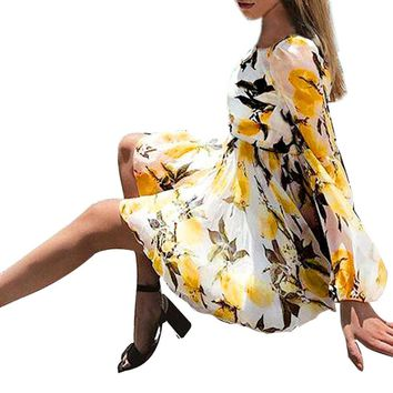 Women's Autumn Summer Dresses Bohemian Chiffon Long Sleeve Dress Lemon Print ChiffonParty Evening Yellow Short Mini Dress