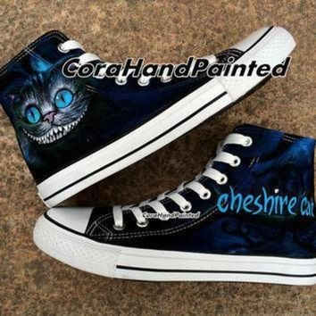 DCCK8NT custom cheshire cat converse custom shoes custom hand painted shoes canvas shoes custo