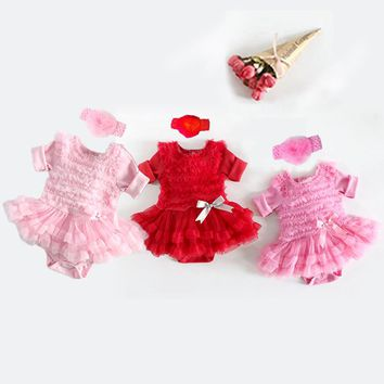 Spring-Summer Baby Dress Long Sleeve Ruffles Lace Tutu Romper Dress Bebe Girl Infant Pink Princess Party Costumes With Headband