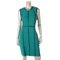 Calvin Klein Womens Ribbed Knit Sleeveless Wear to Work Dress