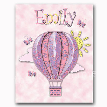 Hot air balloon, baby girl bedroom wall deco,r pink purple nursery art, children poster, kids room decoration, newborn artwork, toddler name