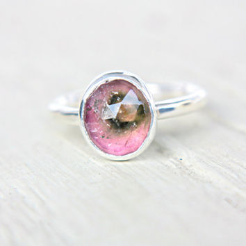 Watermelon Tourmaline Engagement Ring Sterling Silver Natural Rose Cut Tourmaline Gemstone Engagement Ring Size 6,5 Silversmith