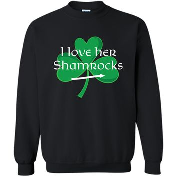 Funny Couples St. Patty's Day  I Love Her Shamrocks Printed Crewneck Pullover Sweatshirt