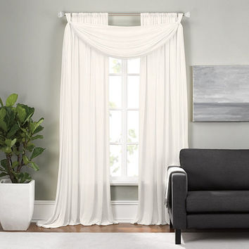 Epic Rod Pocket Window Curtain Panels and Scarf Valance