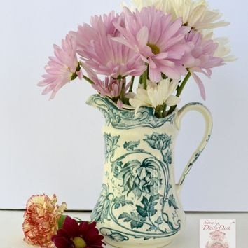 Antique English Victorian Teal  English Transferware Botanical Flowers Pitcher Aesthetic Movement China