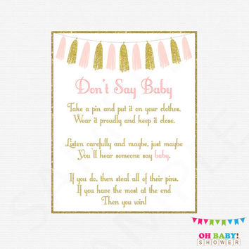 pink and gold baby shower games dont say baby printable baby