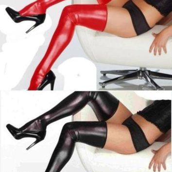 Women's Fashion Gothic Punk Red Faux Leather Wetlook Thigh High Stockings For Costume Lingerie = 1932730628