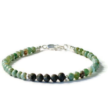 African Jade and Lava Rock Aromatherapy Essential Oil Diffuser Bracelet