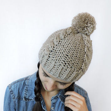 FREE SHIPPING Beige knit hat Beanie with pom pom Camel hand knitted hat Light khaki Womens mens winter hat Ski hat Unisex bobble hat