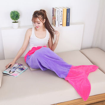 Quilt Mermaid blanket tail Snuggie fleece throw plush plaid On sofa Bed fluffy bedspreads covers bed knitted adult blanket