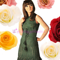 Instant Download 1960s KNITTING Vintage Pattern Fringe Shift Dress w High Tie Clubbing Party Festival Summer Resort Holiday Retro Mod Go Go
