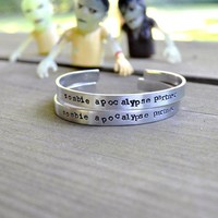 Zombie Apocalypse Partner Bracelet   Halloween   Spooky   For Him   For Her   Unisex   Skulls   Silver   Text   Walking Dead