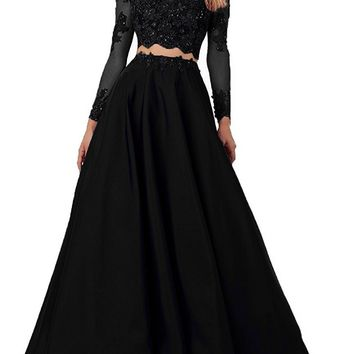 Momoai Women's Beaded Long Sleeve Lace Evening Party Dress Formal Gown Two Pieces Prom Dresses Long