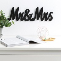 Mr. and Mrs. shaped wall decor