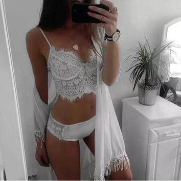 Fashion Solid Color Lace Stitching Strap Small Vest Underwear Lingerie Set