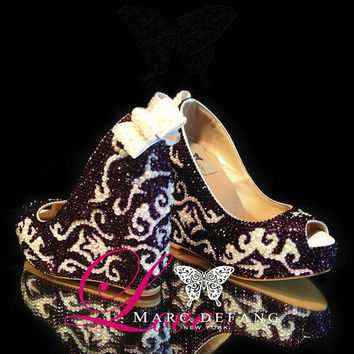 "Luxury Victorian Embellished Crystal Pearls Leather Peep Toe 5"" Wedge, Prom, Shoes"