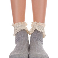 Ankle Socks With Lace - Gray & Pink