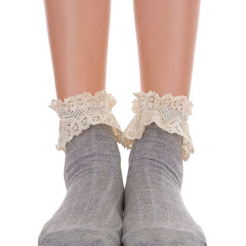 Ankle Socks With Lace Gray & Pink
