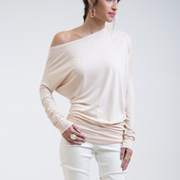 Asymmetric Oversized Top / Party Blouse / Long Tunic / Loose Top / Casual Shirt / Long Sleeve Blouse / Unique Top / marcellamoda - MB035