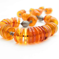 Honey Baltic Amber Disc Necklace Statement Necklace Yellow Genuine Baltic Amber Large Honey Bee Fall Fashion