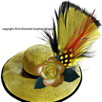 yellow hat rose feather clip art png Digital Sheet Printable Image graphics art downloads fashion accessories