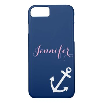 Navy Blue Nautical Anchor Pink Monogram iPhone 7 Case