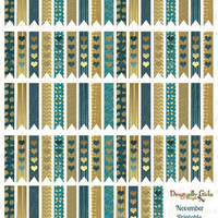 November Teal and Gold Printable Planner 80 Long Flags Stickers PDF and jpeg Erin Condren Life Planner Kikkik Filofax