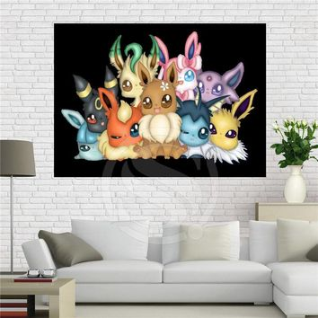 F629#13 Custom Pokemon Cartoon eevee @4 Canvas Painting Wall Silk Poster cloth print DIY Fabric Poster Free Shipping #zhao!13