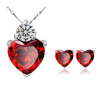 New Brand Zircon Crystal Jewelry Sets Fashion Heart Pendants & Necklaces Stud Earrings White Gold Plated Ruby Jewelry For Women