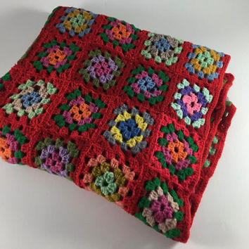 Vintage Crochet Handmade Afghan Red Orange Green Granny Square Flower Throw Bed Covering Bedroom Spring Home Decor Lap Blanket