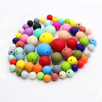 TYRY.HU 100Pcs Silicone Round Beads BPA Free 9/12/15/19mm Baby Teething Chewed Beads For Necklace Pacifier Chain Bracelet Making
