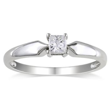 14k Gold Classic 4-Prong Princess Cut Diamond Solitaire Engagement Ring (0.25 cttw, H-I Color, I1-I2 Clarity)