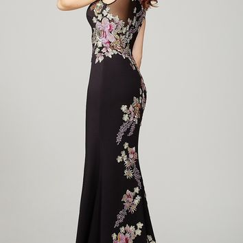 Long Black Sheer Back Embroidered Jovani Prom Dress
