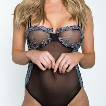 Women's Gorgeous Black Bodysuit With Silver Embroidery Detail