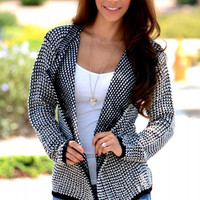 Collarless Long Sleeve Black Knitted Cardigan