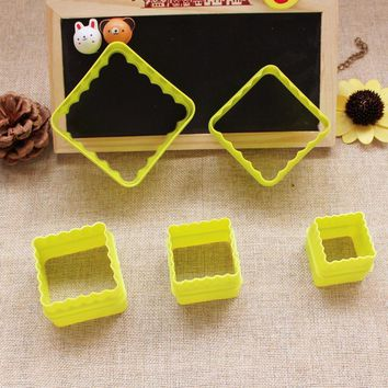 2015 New  5pcs/set Square shape 3D plastic cake mold bread/toast/sushi/rice mould cookie cutter D789