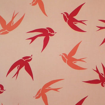 REMNANT--Red and Mango on Peach Bird Print Pure Silk Crepe de Chine Fabric-1.5 Yards