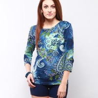 Betsie Printed Top - Blue Online Shopping | 76003