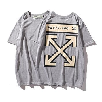 Off white ow yellow arrow T-shirt short sleeve round neck gray print base 19FW street loose lines