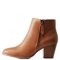 Side-Zipper Chunky Heel Ankle Booties