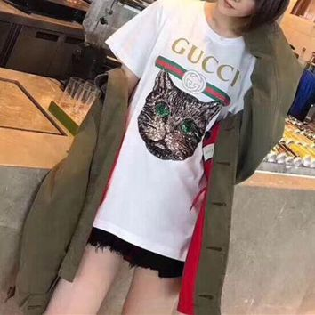 DCCKXT7 Gucci' Women Casual Letter Print Embroidery Sequin Cat Head Short Sleeve T-shirt Shirt Top Tee