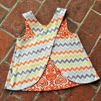 Vintage Inspired Reversible Pinafore Top --- How about Orange