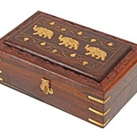 Wooden Jewelry Box Storage Organizer Handmade with Elephant Brass Inlay