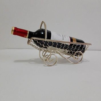French, Wine, Basket, wire, gilded, french vintage, vintage basket, wine accessories, wine accesory, wine gift, table decor, home decor