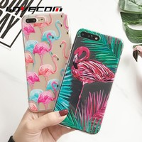 LOVECOM Animal Flamingo Phone Case Coque For iPhone 5 5S SE 6 6S 7 Plus Soft Transparent Silicon Carcasas Capa Cover